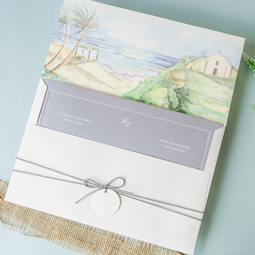 Convites - Casamento na Praia com Aquarela