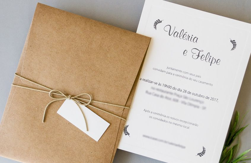 Convite de casamento simples e rústico