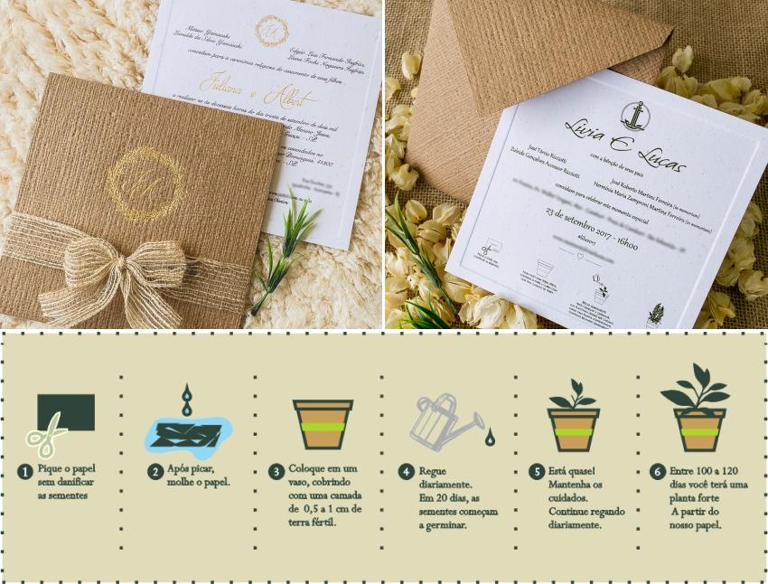 Convite Papel Semente - Casamento na Praia