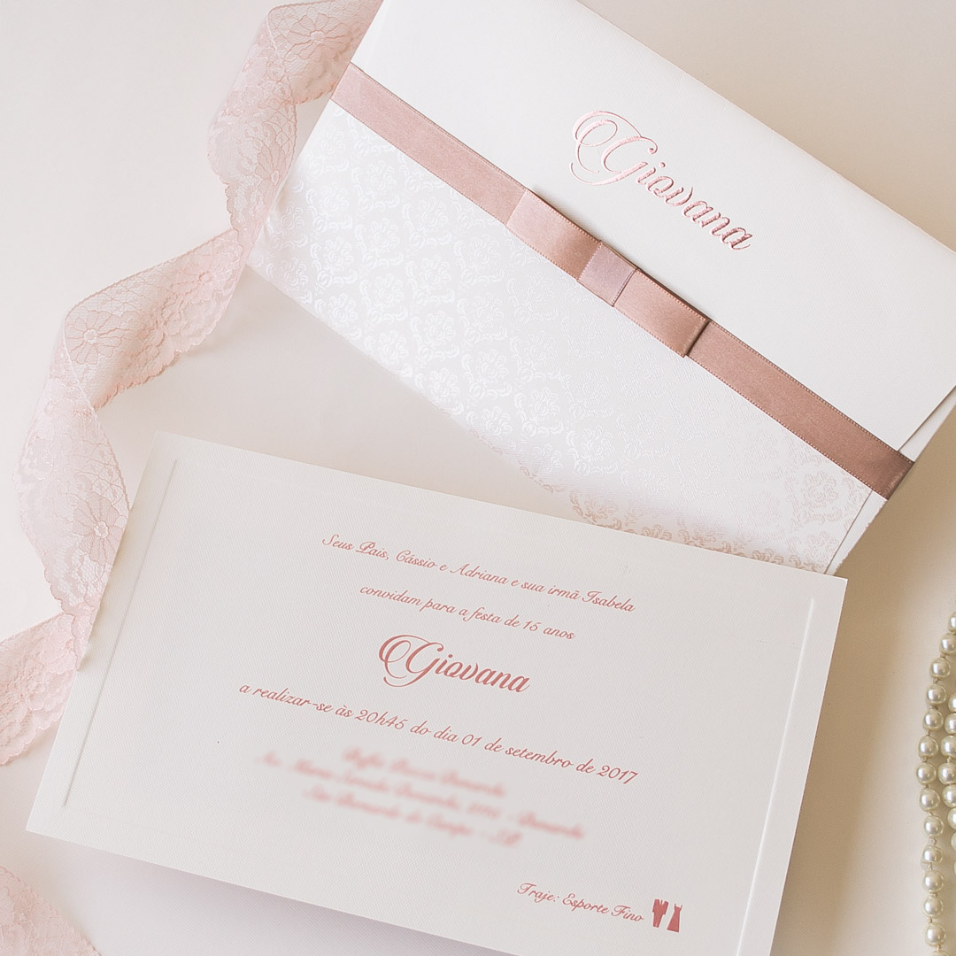 Convite 15 anos simples e elegante