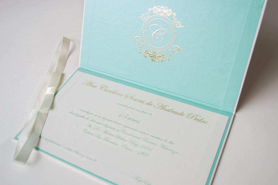 Convites 15 anos azul tiffany