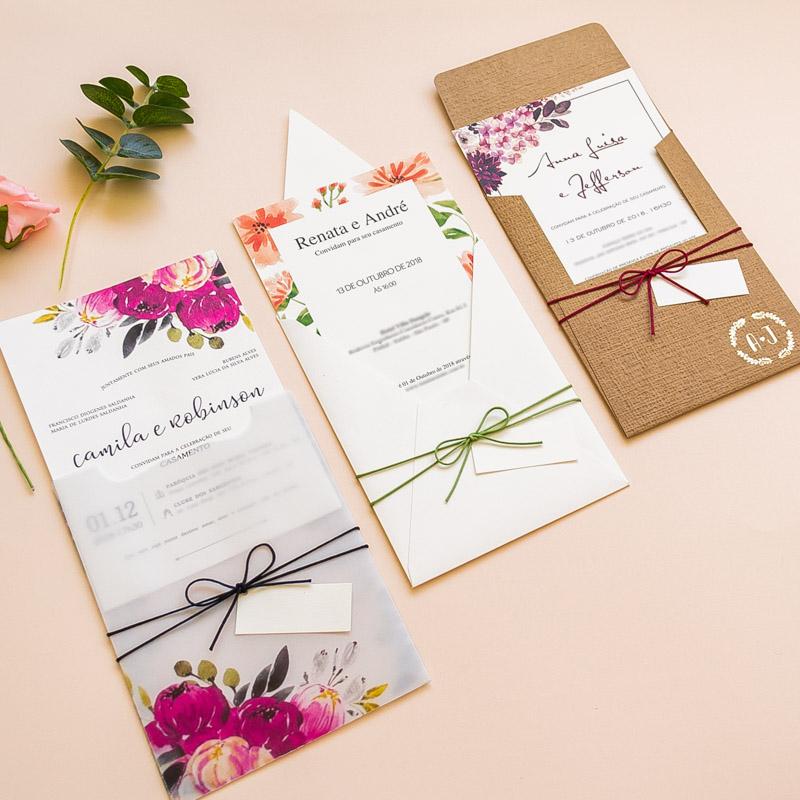 Convites de casamento florais
