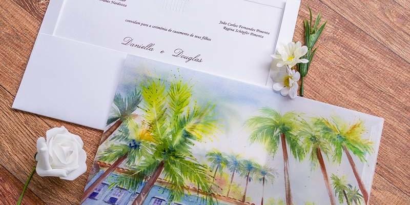 Convite com aquarela para um casamento no campo - Daniela e Douglas