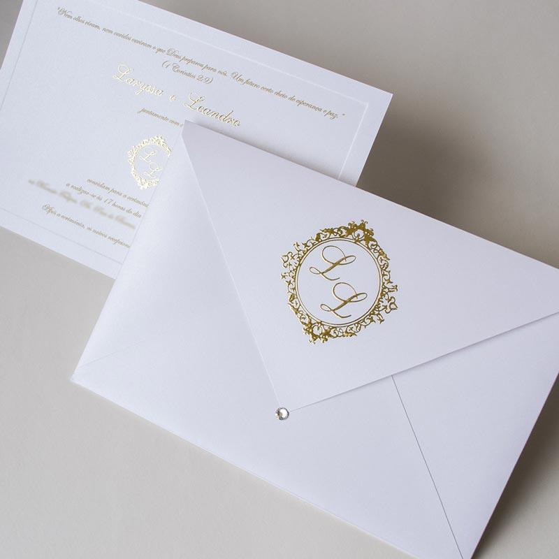 Convite de casamento decorado com strass