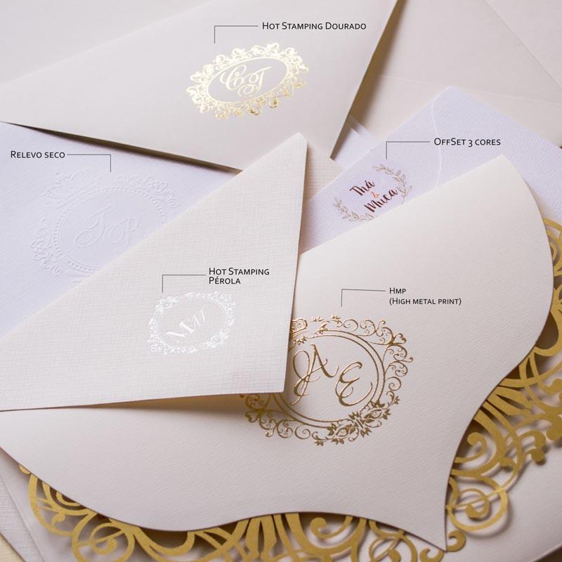 Convite de casamento decorado iniciais