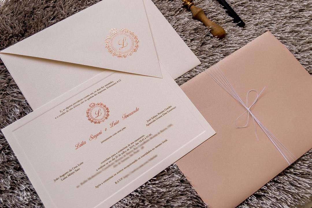 Convites de casamento rose gold