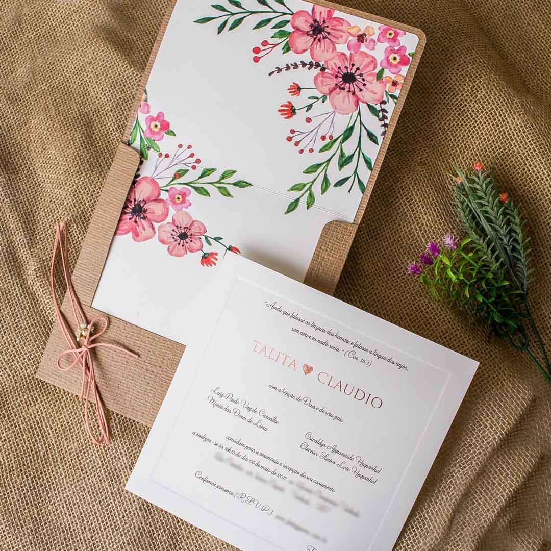 Convite de casamento rústico com flores
