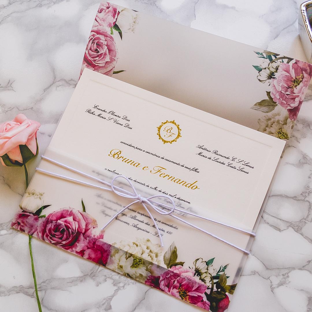 Convite de casamento com flores