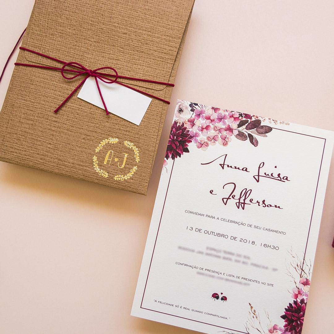 Convite de casamento com flores rústico